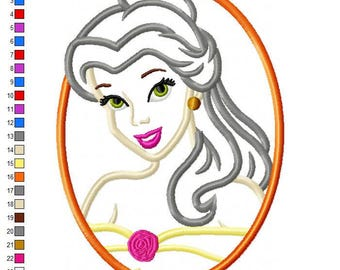 Belle Cameo Applique Embroidery Design - INSTANT DOWNLOAD