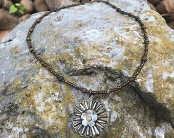 Bronze Flower Pendant with Bronze Beaded Dangles on a Bronze Seedbead Necklace