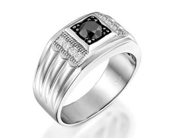 Mens ring black and white diamonds