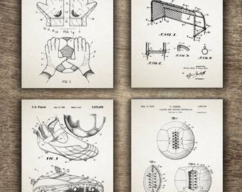 Soccer Patent Set of 4 Prints, Soccer Wall Decor, Soccer Patent Print, Soccer Print, Soccer Art, Soccer Set of 4 Prints INSTANT DOWNLOAD