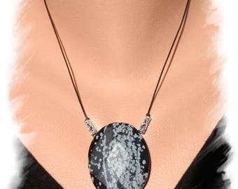 Speckled Obsidian necklace, 925 Silver