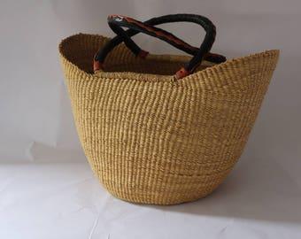Baige Woven Large Basket Bag