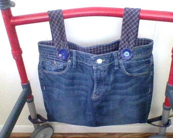 blue with navy plaid walker bag