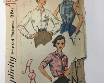 Vintage Simplicity 1950s Misses and Womens Blouse and Transfer Sewing Pattern #2195 Size 12 Bust 32