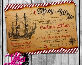 Treasure Map Pirate Party Invitation