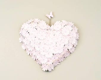 Valentines day gift. Pink heart wall art. White heart wall hanging. Large paper heart wall decor. Bridal shower decor. Wedding heart decor