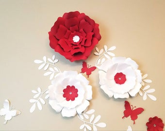 Large paper flowers. Large paper flowers wall. Nursery flowers decor. Wedding backdrop. Bridal shower decor. Girl's room decor. 3D flowers.