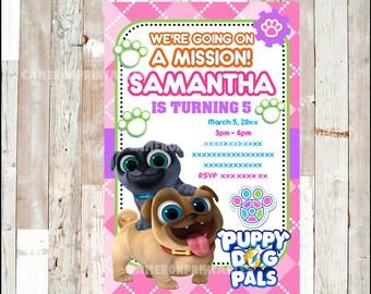 Puppy Dog Pals Invitation, Printable Pink Puppy Dog Pals party invitation, Puppy Dog Pals Birthday invitation