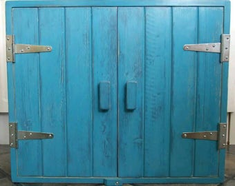 Turquoise Shabby Chic Modern solid wood wall cupboard unit