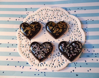 4pc Black Star Holo Glitter Puffy Heart Decoden Kawaii Cabochons