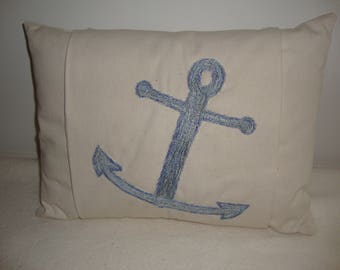 Pillow, Anchor, throw , toss, accent, decorative, twill cotton, thread embroidery, insert included.