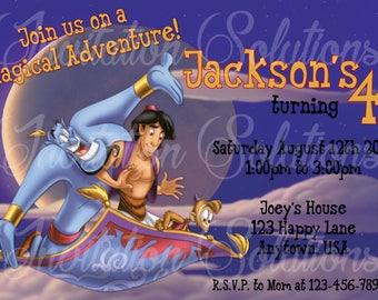Aladdin and Genie Birthday Party Invitation/ Aladdin taking a magic Carpet Ride Party Invite