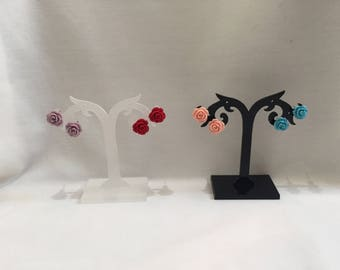 Rose stud earrings, available in red, purple, blue and pink