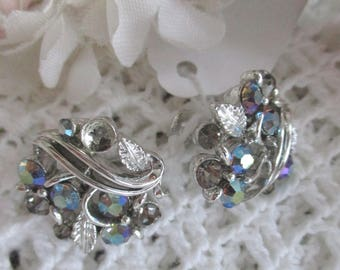 Unique Vintage Screw Back Earrings, Lisner Multi Color Austrian Crystals FREE SHIPPING
