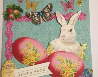 Easter Card/Handmade/3D/Bunny with Two Large Easter Eggs/Flowers/Butterflies/Greeting