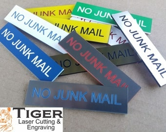 NO JUNK MAIL - Laser Engraved Letterbox Sign - Assorted Colours - 8CM X 2CM