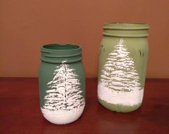 Hand Painted Mason Jar - Snowy Tree Design