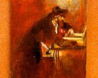 Judaica Miniature - Rabbi, praying, synagogue