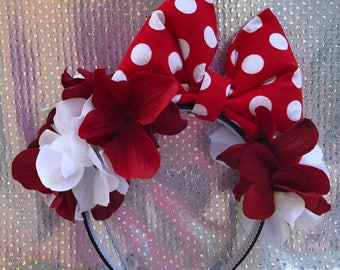 Bow headband/ flowers/ bow/ headband/ red/ white/ polka dots
