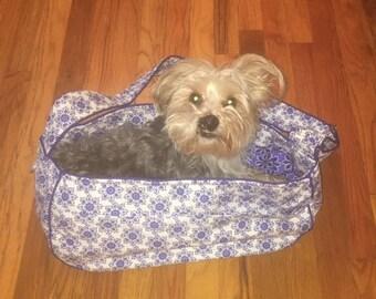 Blue, White, and Black Flower Printed Dog Tote Bag, Pet Carrier, Dog Sling, Messenger Bag