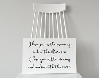 "Nursery Decor ""Love You In The Morning"" Wood Sign"