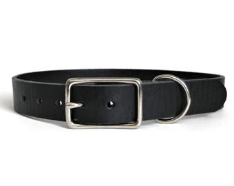 """Leather Dog Collar Black 1"""" Wide for Medium & Large Dogs Handmade in USA"""