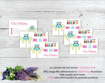 Dot Dot Smile Cash, Smile cash discount, Cash Card, owl marketing kit, DDS Business card, Printable file DS79