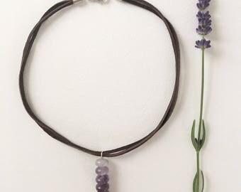 Natural amethyst choker necklace, Leather necklace, Gemstone, Boho necklace, Necklace, Jewelry, Boho jewelry, Handmade jewelry, Quartz