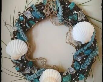 Sea glass, seashell and pearl beach themed wreath