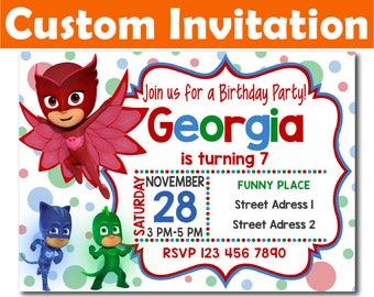 SALE -50%: Personalized Pj Masks Invitation, Pj Masks Birthday Invitation, Pj Masks invitation, Pj Masks Digital Invitation, Pj Masks custom