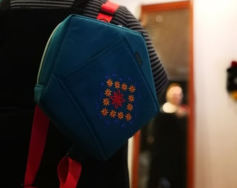 Embroidered backpack, Hipster backpack, Backpack purse,  pentagonal backpack, Green bag, backpack women, holiday, boho backpack