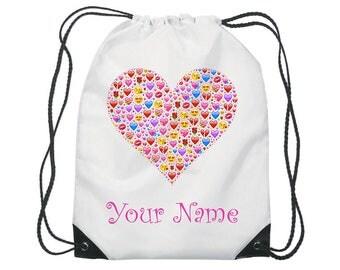 Personalised Heart Emoji Gym Bag PE Dance Sports School Swim Shoe Bag Waterproof