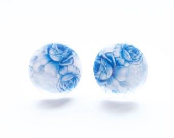 Blue Lydia Floral stud earrings