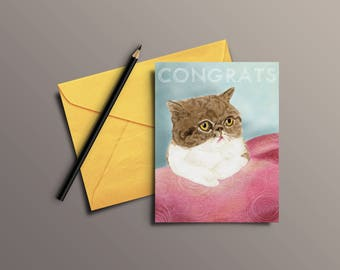 Watercolor kitty cat Congratulations greeting card
