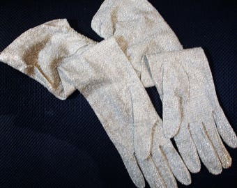 Ruched Silver Gloves Vintage Elbow Length Lurex Gloves By Cornelia James size 7  1950s