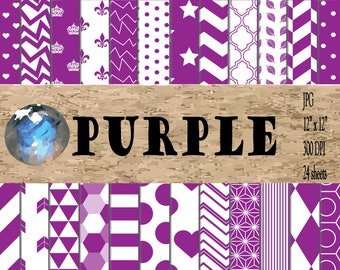 Digital Paper - Purple Patterns
