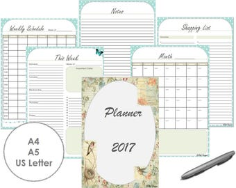 Weekly Planner 2017 Organizer Printable PDF A4 A5 US Letter Sizes Turquoise Color