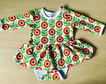 Baby girl retro 1970s print dress 0 - 3 months