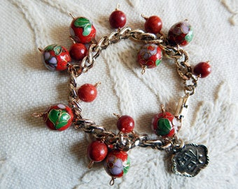 Vintage Goldtone Assemblage Charm Bracelet with Red Vintage Cloisonne Sponge Coral and Chinese Charm