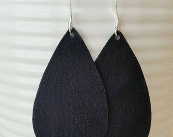 Black Leather Earrings/Teardrop