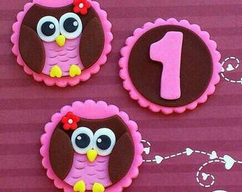 Cute Owl First Year Cupcake Toppers