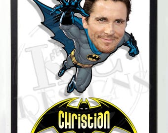 A4 Novelty Personalised Batman Cartoon / Caricature picture, Fathers Day, Birthday gift
