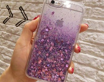 Iphone Purple Heart glitter case iPhone 6