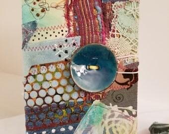 BOhO Bohemian Hippy Blank Journal / Sketchbook / Art Book, Draw, Paint, Charcoal, Watercolor, Funky Buttons, Vintage Beads, OOAK