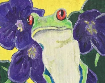 Red Eyed Tree Frog In A Sunny Bed Of Lilac Original Painting By Lucius Floyd