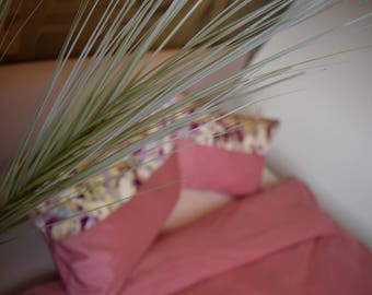 Unique handmade beding duvet and pillows covers pink with flowers