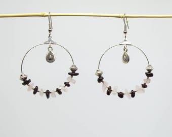 Hoop earrings silver 40 mm, Garnet stones and rose quartz chips