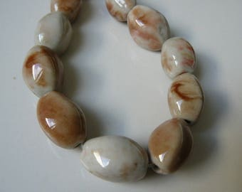 Set of 4 new 20mm creamy white porcelain beads