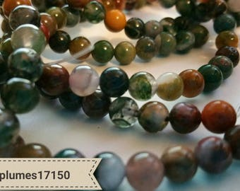 set of 30 beads natural agate 6mm Indian
