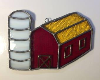 """Stained Glass Farm Barn with Silo 6""""x4"""" Window Sun Catcher"""
